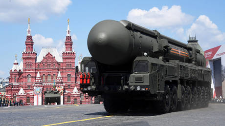 A Russian Yars ICBM system during the Victory Day Parade in Red Square in Moscow, June 24, 2020.