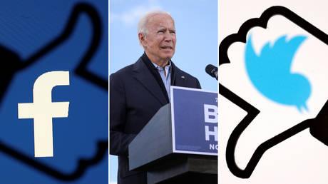 Joe Biden, seen alongside the logos of Facebook and Twitter © Reuters / Tom Brenner and Dado Ruvic