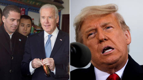 (L) Hunter Biden is shown on a 2013 trip to Beijing with his father, then-Vice President Joe Biden. (R) President Donald Trump, shown at a rally Saturday in Michigan, is calling for a special prosecute to investigate alleged influence peddling by the Bidens. © Reuters