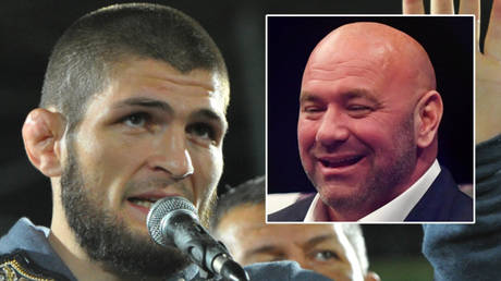 Dana White (right) says Khabib Nurmagomedov could break the pay-per-view record against Justin Gaethje at UFC 254 © Said Tsarnayev / Reuters | © Jasen Vinlove / USA Today Sports