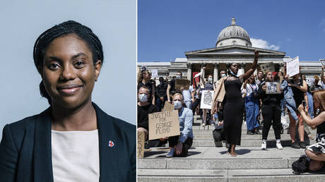 (L) Kemi Badenoch © Wikipedia; (R) People hold placards as they join a spontaneous Black Lives Matter march at Trafalgar Square on May 31, 2020 in London, England. © Getty Images/Hollie Adams