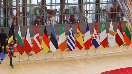 Flags of Europe or European Flag is the symbol of Council of Europe CoE and The European Union EU as seen with National flags of European Nations in Forum Europa Building at the Belgian capital Brussels. February 21, 2020