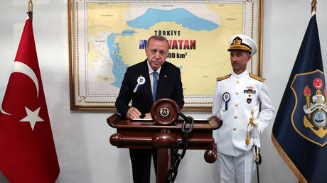 Turkish President Recep Tayyip Erdogan, is pictured during a ceremony at the Naval Academy in Istanbul, Turkey, August 31, 2019. © Reuters / Murat Cetinmuhurdar / Presidential Press Office