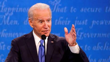Democrat presidential candidate Joe Biden speaks during Thursday night's debate with President Donald Trump.