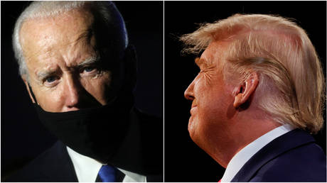 The mask slips: Democratic presidential candidate Joe Biden and US President Donald Trump