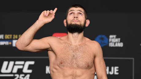 Khabib made weight on Fight Island on Friday to make his title showdown with Justin Gaethje official. © Zuffa LLC