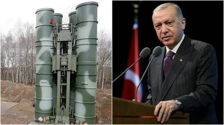 Russian S-400 surface-to-air missile system © Reuters / Vitaly Nevar; Turkish President Tayyip Erdogan © Reuters / Presidential Press Office