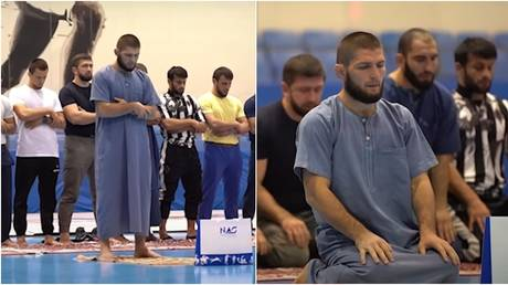Footage on Khabib's YouTube channel showed him leading his team in prayer during their training camp. © YouTube Khabib Nurmagomedov