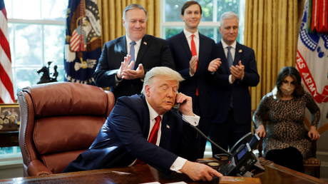 US President Donald Trump announces that Sudan will be joining the Abraham Accords on White House conference call, October 23, 2020.