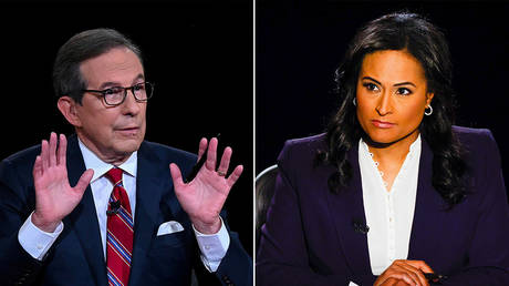 Chris Wallace during the first 2020 presidential debate © REUTERS/Olivier Douliery; Kristen Welker during the second 2020 presidential debate © REUTERS/Jim Bourg