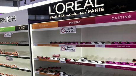 Empty shelves are seen where French products were displayed, after Kuwaiti supermarkets' boycott on French goods on October 25, 2020.