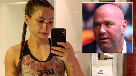 Liana Jojua (left) spoke to Dana White after appearing on the UFC 254 bill headlined by Khabib Nurmagomedov © Instagram / likajojua   © Mark J Rebilas / USA Today Sports