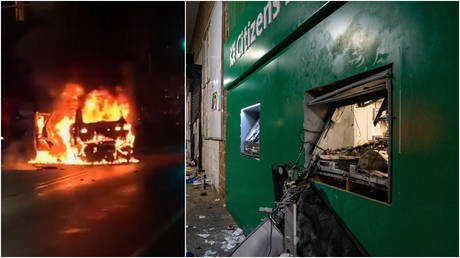 (L) A burning police car is seen during rioting and unrest in Philadelphia, Pennsylvania, October 27, 2020; (R) An ATM destroyed by rioters amid unrest in Philadelphia.
