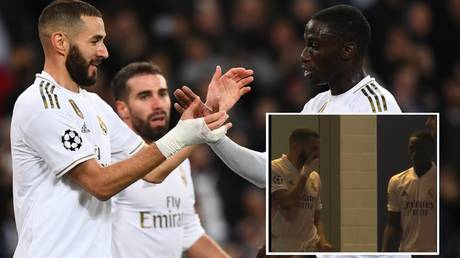 Benzema and teammate Ferland Mendy supposedly spoke about teammate Vinicius. © AFP / Twitter @RMCsport