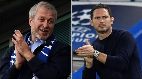 Chelsea owner Roman Abramovich and manager Frank Lampard. © Reuters