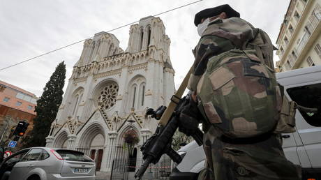 A French soldier stands in front of Notre-Dame church, where a knife attack took place, in Nice, France October 29, 2020.