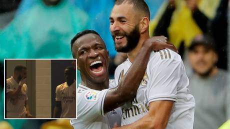 Real Madrid teammates Karim Benzema and Vinicius have reportedly cleared the air. © Reuters / Twitter @RMCsport