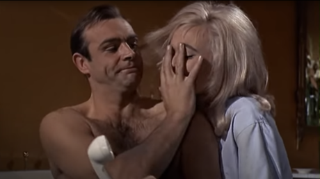 Sean Connery as James Bond and Shirley Eaton as Pussy Galore in the 1964 classic 'Goldfinger'.