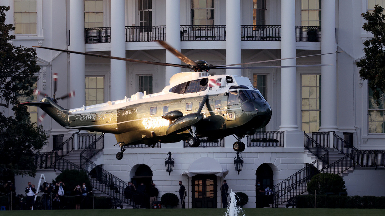 Marine One carries US President Donald Trump away from the White House on the way to Walter Reed National Military Medical Center, October 2, 2020