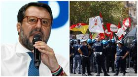 Allies & protesters rally in Italy as ex-Deputy PM Salvini faces trial over 'kidnapping' of over 130 migrants (VIDEO)