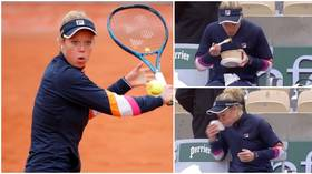 'Never seen that before': German ace Siegemund eats MEAL during French Open win as her controversial tournament continues (VIDEO)