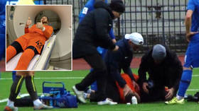 Russia football manager's son suffers FRACTURED JAW & head trauma after being KNOCKED OUT in horror collision with opponent's knee