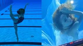 'What do you think of this couple?': Russian synchronized swimming stunners make Halloween splash as Joker and Harley Quinn