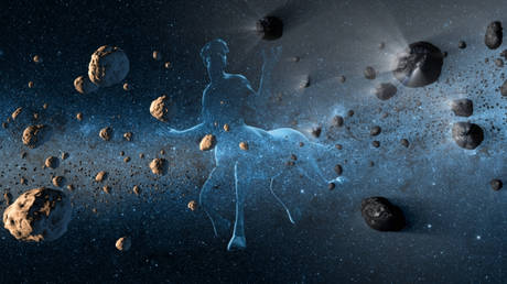 NASA artist's concept showing a centaur creature together with asteroids on the left and comets at right. © NASA/JPL-Caltech