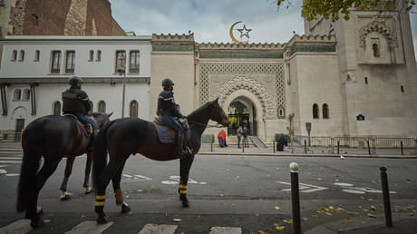 Mounted Police patrol outside the Grand Mosque in Paris during Friday Prayers on October 30, 2020 in Paris, France.