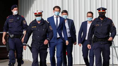 FILE PHOTO: Austria's Chancellor Sebastian Kurz, is on his way to visit President Alexander Van der Bellen, in Vienna, Austria October 31, 2020.