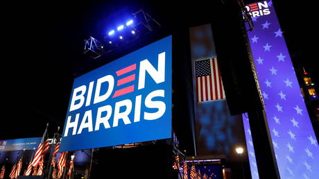 A large outdoor stage awaits U.S. Democratic presidential nominee Joe Biden where he will hold his 2020 U.S. presidential election night rally as a drive-in event because of coronavirus disease (COVID-19) pandemic social distancing in Wilmington, Delaware, U.S., November 3, 2020.