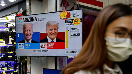 A news report of the US presidential election is seen on television screen in Hong Kong, China November 4, 2020. © Tyrone Siu / Reuters
