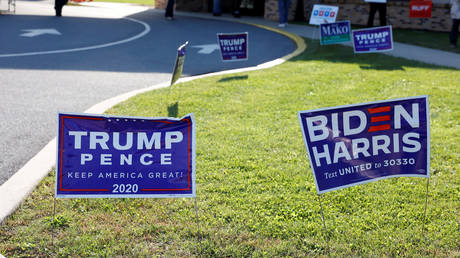 Campaign signs for U.S. President Donald Trump and presidential nominee and former Vice President Joe Biden are seen on Election Day in Cherryville, Pennsylvania, U.S., November 3, 2020