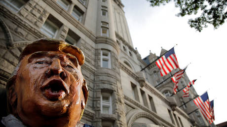 FILE PHOTO: A puppet of U.S. President Donald Trump outside Trump International Hotel, in downtown Washington, U.S. June 28, 2017