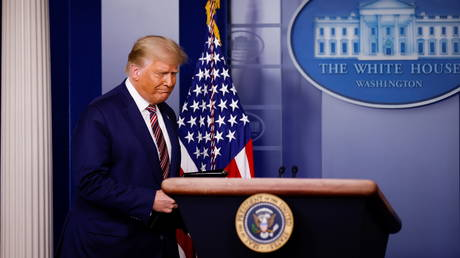 US President Donald Trump arrives to address reporters about the 2020 presidential election results in the Brady Press Briefing Room at the White House in Washington, DC, November 5, 2020.
