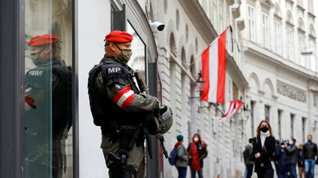 An armed member of the special forces stands guard near the site of a gun attack in Vienna. © Reuters / Leonhard Foeger