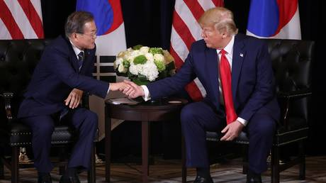 South Korean President Moon Jae-in is shown meeting with US counterpart Donald Trump in September 2019.