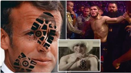 Khabib has attacked Macron, but has himself been a target from Russian rappers. © Instagram @khabib_nurmagomedov / Getty Images via AFP / YouTube @AnubisWay