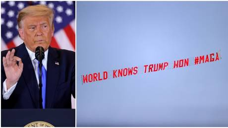 The pro-Trump banner was flown before the kick-off between Everton and Manchester United at Goodison Park. © PA Images via Getty Images / Reuters