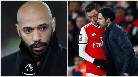 Arsenal legend Henry has urged Arteta to act over Ozil. © Reuters