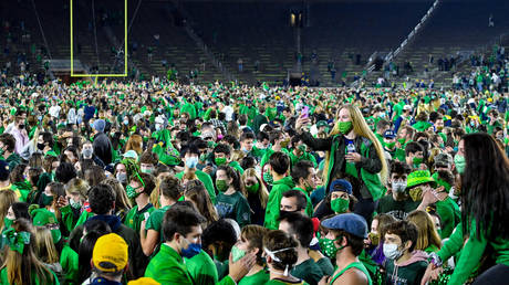 The mass celebrations at Notre Dame after their victory. © Getty Images