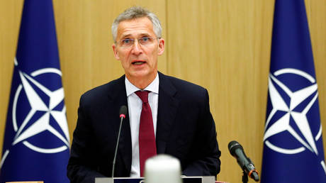 FILE PHOTO: NATO Secretary-General Jens Stoltenberg speaks as he chairs a NATO defence ministers meeting via teleconference at the Alliance headquarters in Brussels, Belgium June 17, 2020.