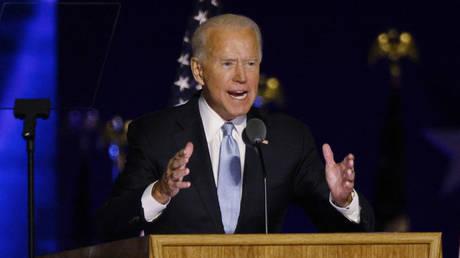 Joe Biden speaks at a victory rally in Wilmington, Delaware, November 7, 2020 © Reuters / Jim Bourg