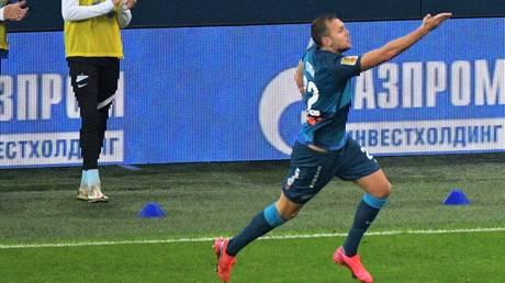 Dzyuba celebrates his goal against Krasnodar. © Sputnik