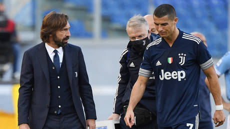 Ronaldo scored then came off injured against Lazio. © Reuters