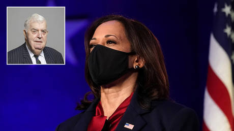 FILE PHOTO: Vice president-elect Kamala Harris. Wilmington, Delaware, U.S. © REUTERS / Kevin Lamarque; (inset) Lord Kilclooney © members.parliament.uk