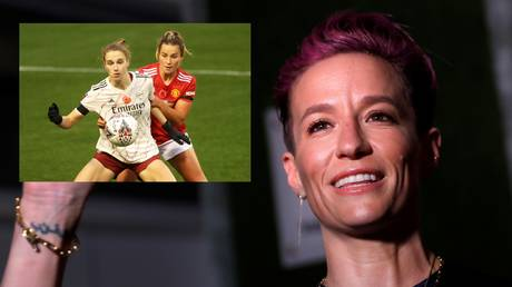 Megan Rapinoe has taken a swing at Manchester United, calling the Premier League club a 'disgrace' for not investing in there women's team earlier - Reuters / MIKE SEGAR (main); Reuters/ CARL RECINE (inset)