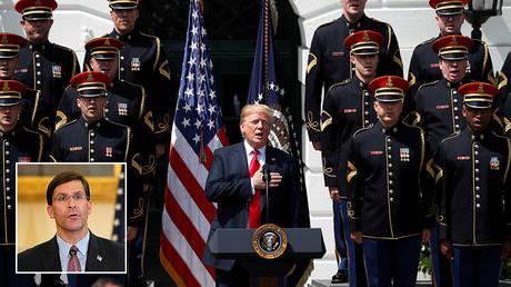 © REUTERS/Kevin Lamarque; inset Mark Esper © Pool via REUTERS/Patrick Semansky