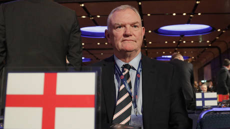 FA Chairman Greg Clarke poses for photographers as he arrives on the occasion of the 43rd UEFA congress in Rome, Thursday, Feb. 7, 2019. © AP Photo/Gregorio Borgia