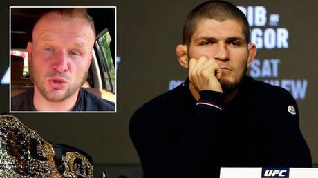 MMA fighter Alexander Shlemenko (left) and UFC star Khabib Nurmagomedov © Instagram / alexandershlemenko | © Noah K Murray / USA Today Sports
